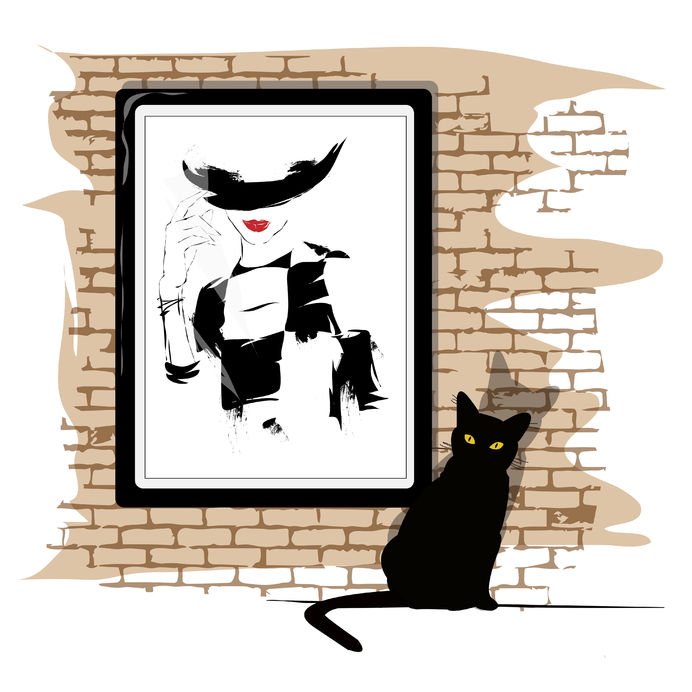 33671563 - the girl's portrait on a wall and a black cat. vector illustration.