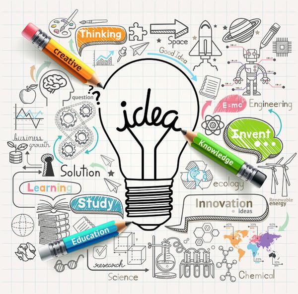 43877911 - lightbulb ideas concept doodles icons set