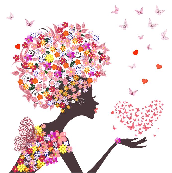 16787579 - fashion flowers girl with a heart of butterflies